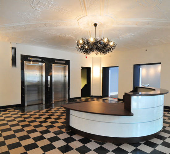 The lobby of the Bellerive Apartments is a superb juxtaposition of old and new.  No historic fabric was sacrificed to give this space its distinctly 21st century feel.