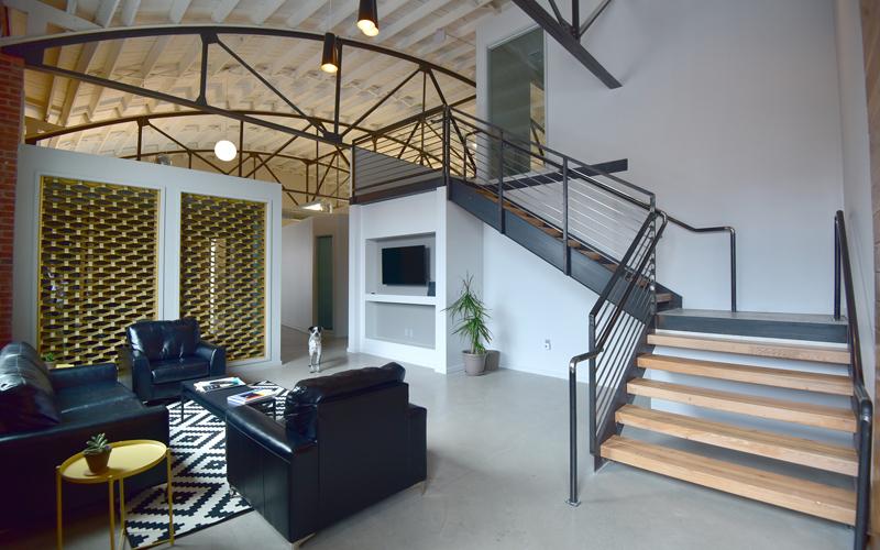414 Oak - Interior After, barrel vault roof, mezzanine, historic restoration, historic tax credits, National Register, historic renovation